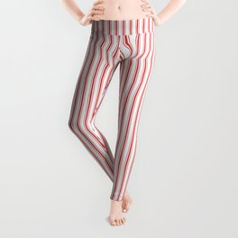 Mattress Ticking Narrow Striped Pattern in Red and White Leggings