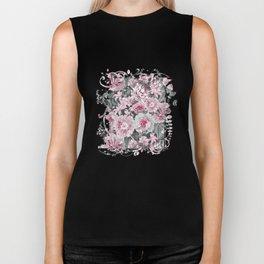 Nostalgic Flower Pattern Teal And Pink Biker Tank
