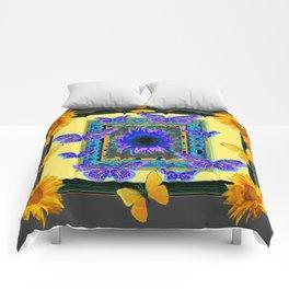 PURPLE & YELLOW BUTTERFLIES SUNFLOWER DESIGN Comforters
