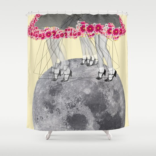 C-Over The Moon  Shower Curtain