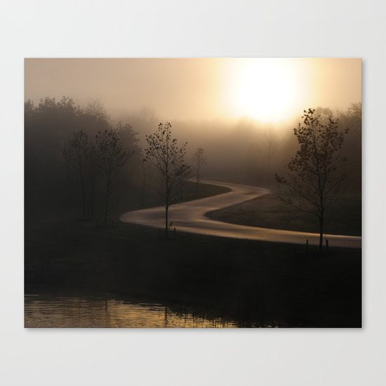 The long and winding misty and moody road Canvas Print
