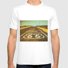 Route 66 Road Marker White MEDIUM Mens Fitted Tee