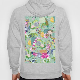 Chinoiserie Decorative Floral Motif Pale Mint Hoody