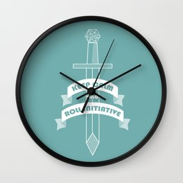 Keep calm and roll initiative Wall Clock