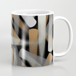 Digital Paint Brush Strokes in Gold, Silver and White Coffee Mug