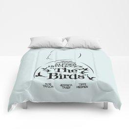 The Birds, Alfred Hitchcock, alternative movie poster, minimal playbill, Tippi Hedren, horror film Comforters