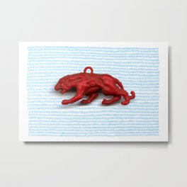 Red panther on blue grass Metal Print