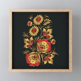 Golden russian folk Framed Mini Art Print