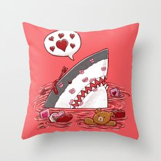 The Valentine's Day Shark Throw Pillow