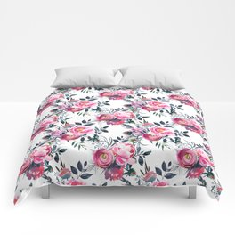Modern pink gray hand painted watercolor floral pattern Comforters