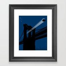A UFO flies in Brooklyn Framed Art Print