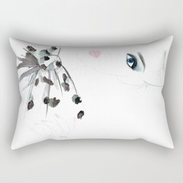 Watercolour Fashion Illustration Titled Bow Top Rectangular Pillow