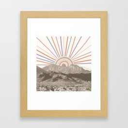 Summerlin Mountain // Abstract Vintage Mountains Summer Sun Vibe Drawing Happy Wall Hanging Framed Art Print