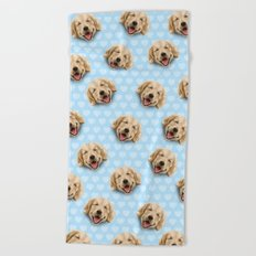 happy dog Beach Towel