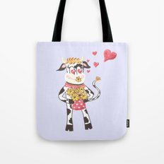Snowbell the cow is in love Tote Bag