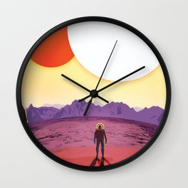 NASA Retro Space Travel Poster #8 Kepler 16b Wall Clock