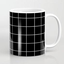 Grid Pattern Line Stripe Black and White Minimalist Geometric Stripes Lines Coffee Mug