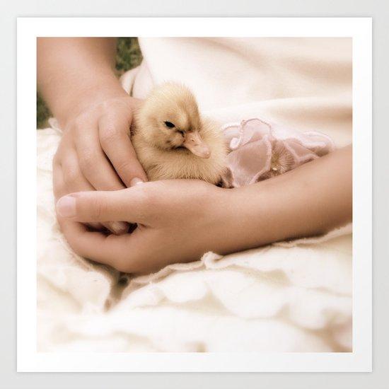 Duckling in Hand Art Print