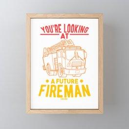 Fire Engine Fire Emergency Child Baby Framed Mini Art Print