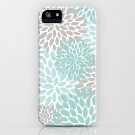 Floral Pattern, Teal, Aqua, Turquoise,Gray iPhone Case