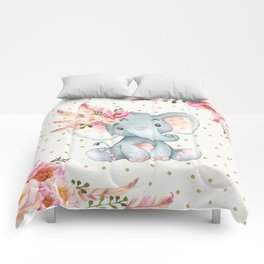 Boho Floral Elephant - Pink & Faux Gold Comforters