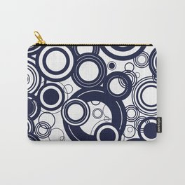 Contemporary Circles Modern Geometric Pattern in Navy Blue and White Carry-All Pouch