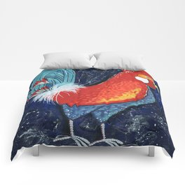 Colorful Rooster Art on Dark Blue Background by Kimberly Schulz Comforters