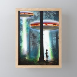 UFO ALIEN FOREST Framed Mini Art Print