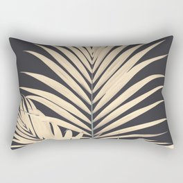 Inverted Vision | White sepia palm tree leaf photography on grey black Rectangular Pillow