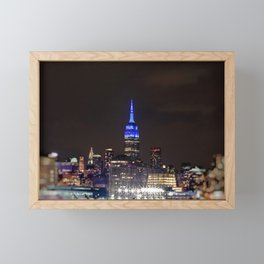 Midtown Manhattan at Night Framed Mini Art Print