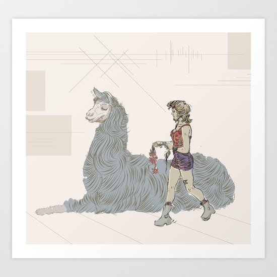 A Girl and a Llama Art Print
