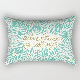 Adventure is Calling – Turquoise & Gold Palette Rectangular Pillow