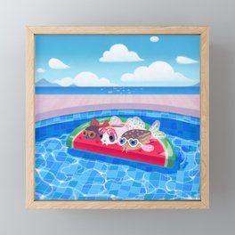 Cory cats in the swimming pool Framed Mini Art Print
