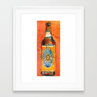 ale giorgini Framed Art Prints featuring BEER ART - Oberon Ale by Dorrie Rifkin Watercolors