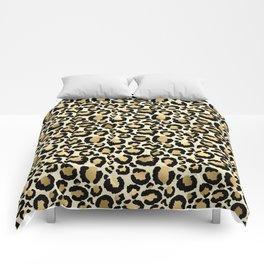 Gold Leopard Print Comforters