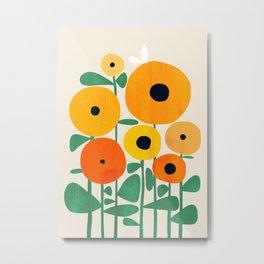 Sunflower and Bee Metal Print