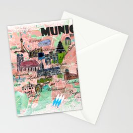 Munich Bavaria Illustrated Travel Map with Main Roads, Landmarks and Highlights Stationery Cards