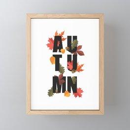 Autumn word and leaves BLACK Framed Mini Art Print