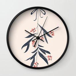 Mistletoe and love Wall Clock