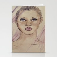 kate moss Stationery Cards featuring Kate Moss by Jade Lenehan