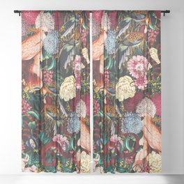 Floral and Animals pattern II Sheer Curtain