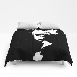 Dymaxion World Map (Fuller Projection Map) - Minimalist White on Black Comforters