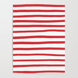 Red hand drawn stripes Poster