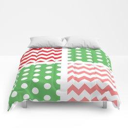 Two-Tone Red/Green/White Chevron/Polkadot Comforters