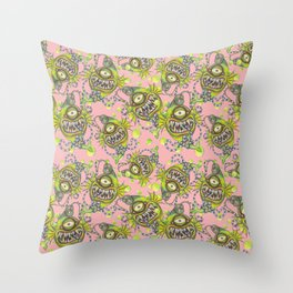 Slick Fish with Bubbles - Girly Pink Throw Pillow