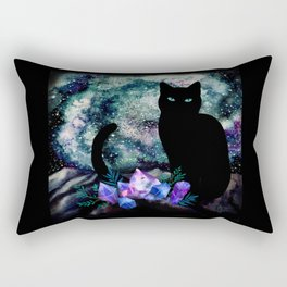 The Cat With Aquamarine Eyes And Celestial Crystals Rectangular Pillow