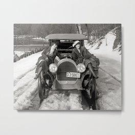 Women Posing On Automobile, 1920. Vintage Photo Metal Print