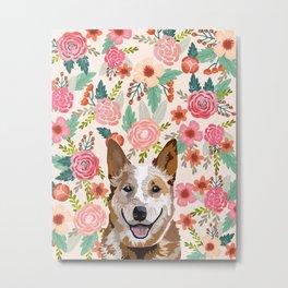 Australian Cattle Dog red heeler floral pet portrait art print and dog gifts Metal Print