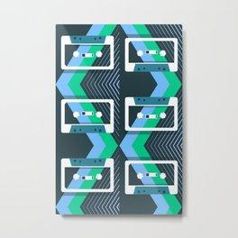 Mix Tapes Pattern Teal Blue Green Metal Print