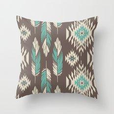 Native Roots - Turquoise & Brown Throw Pillow